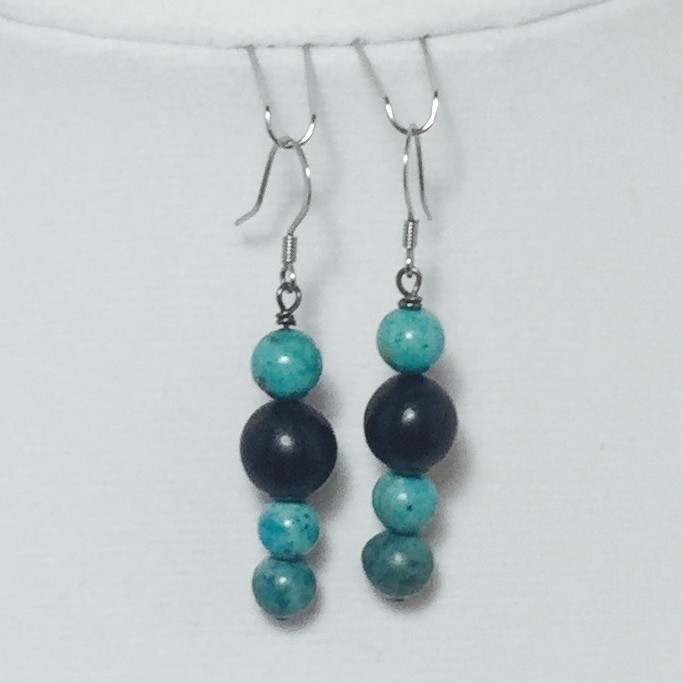 Magnesite and Buri Seed Earrings