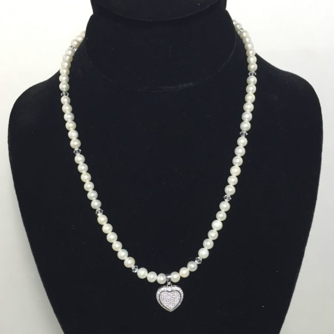 Pearl and Diamante Sterling Silver necklace