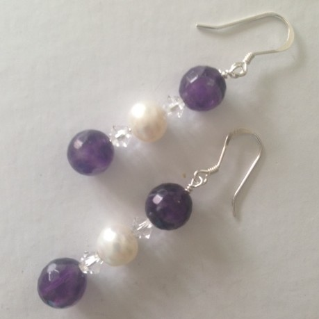 Amethyst, Pearl and Crystal Earrings
