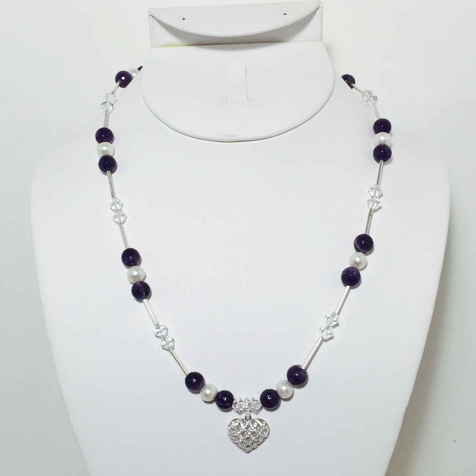 Amethyst, Pearl, Crystals and Sterling Silver Necklace