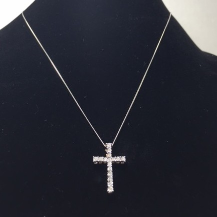 Diamond and Gold Cross Necklace