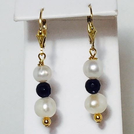 Sapphire Quartz, Diamond and Pearl Earrings