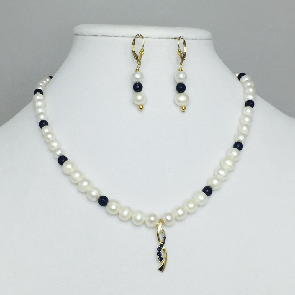 Sapphire Quartz, Diamond and Pearl Necklace and Earrings