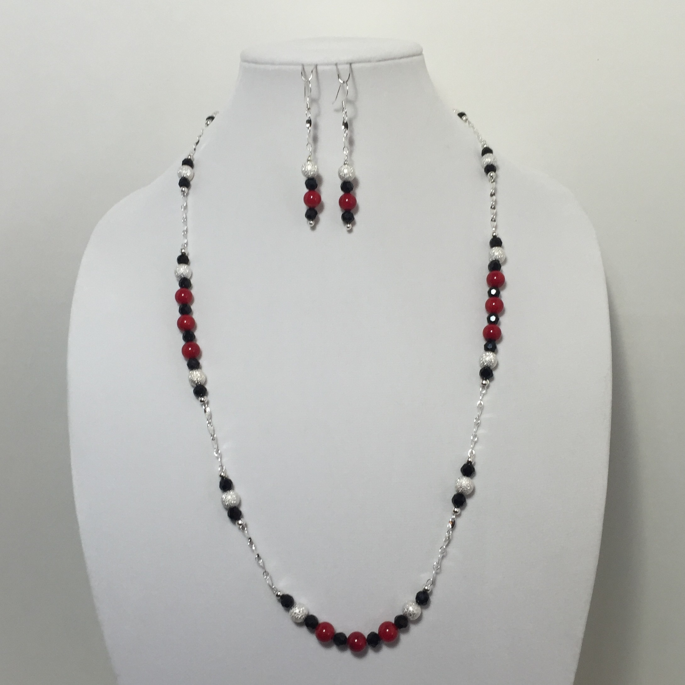Coral, Crystal and Silver Necklace and Earrings Set