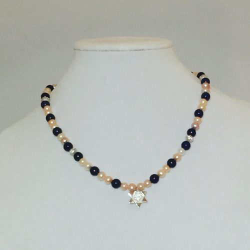 pearls, Lapis Star of David Necklace