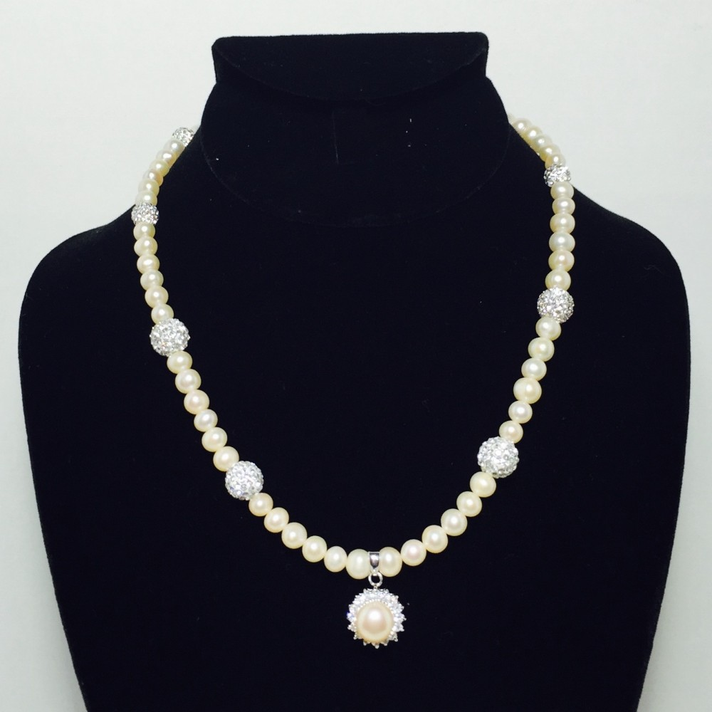 Pearl, CZ, Crystal and Sterling Silver Necklace