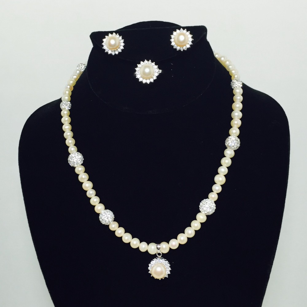 Pearl, CZ, Crystal and Sterling Silver Necklace, Ring and Earrings Set