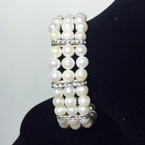 Pearl, Crystal and Silver Bracelet