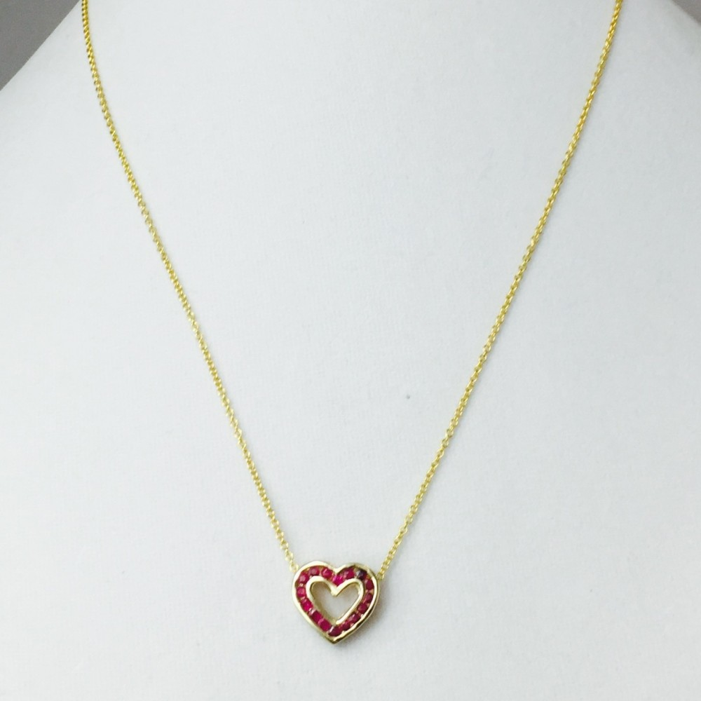 Ruby, Diamond and Gold Heart Necklace