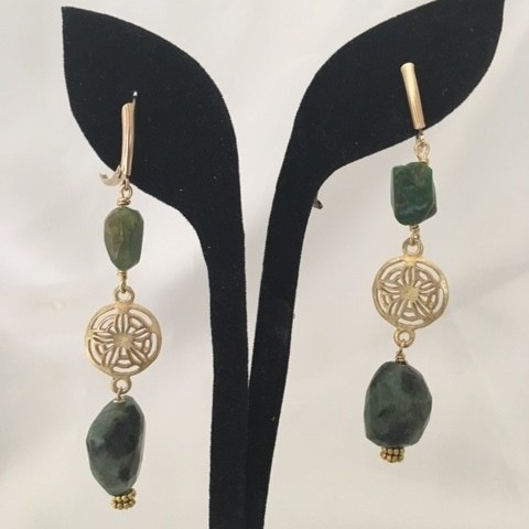 Emerald and Gold Filled Earrings