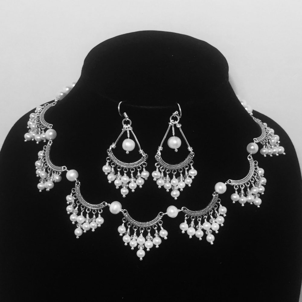 Pearl, Crystal and Silver Necklace and Earrings Set
