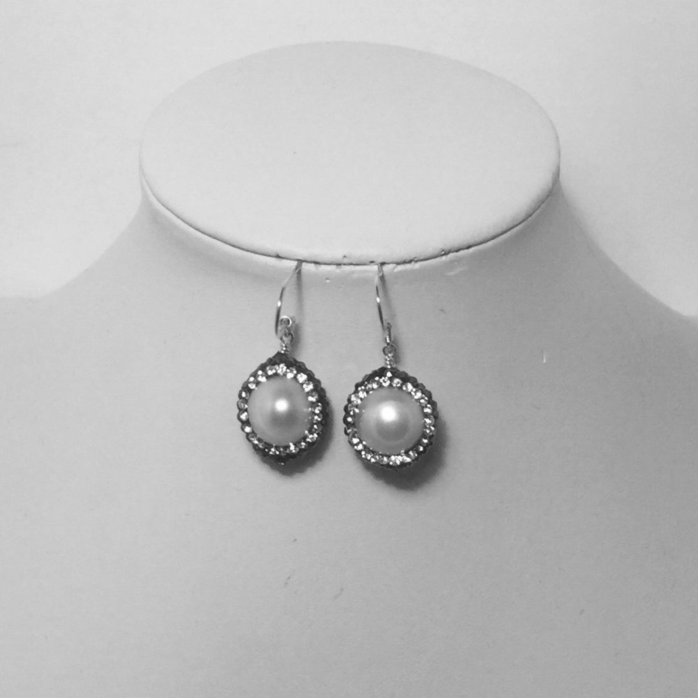 Pearl, Crystal and Silver Earrings
