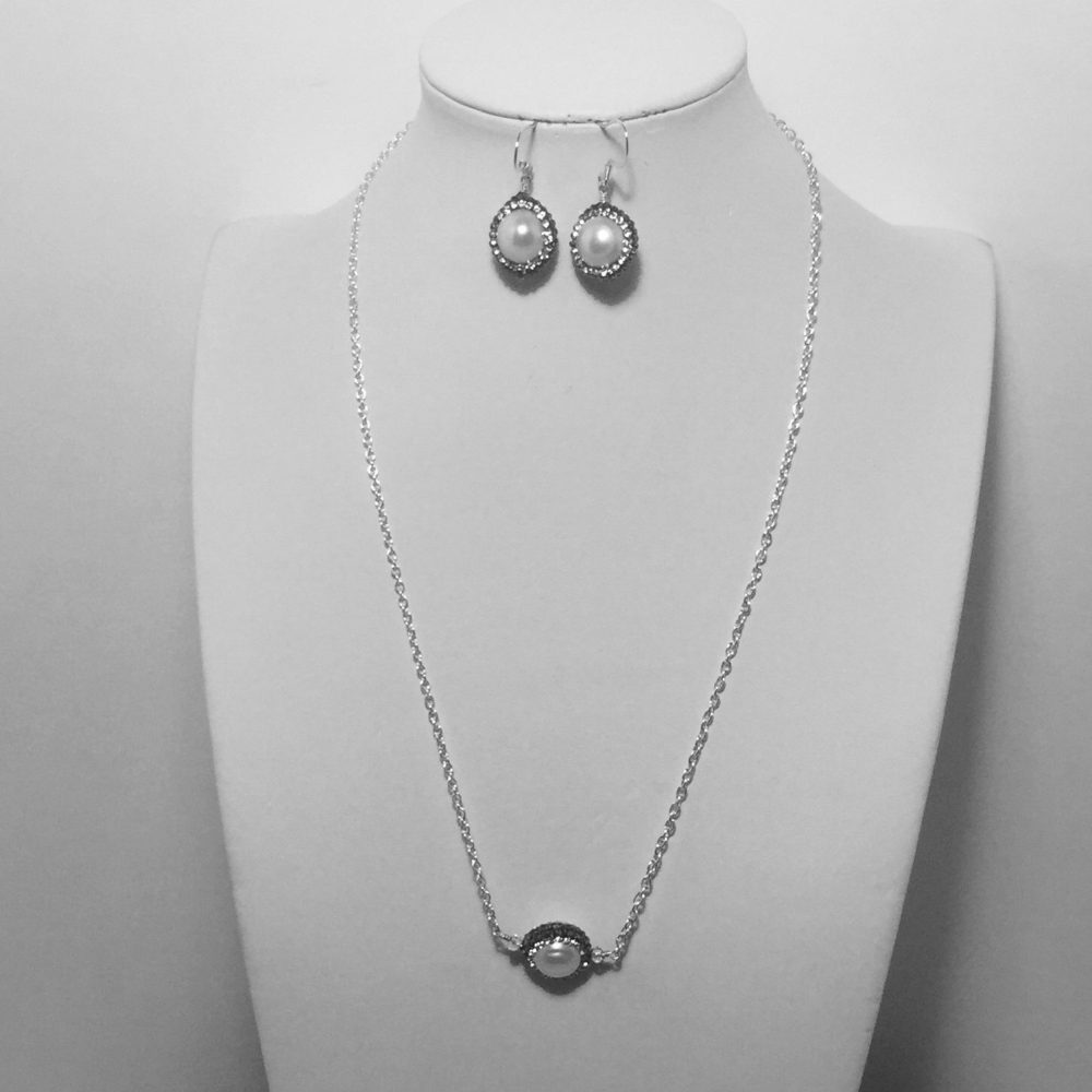 Pearl, Crystal and Silver Necklace and Earring Set