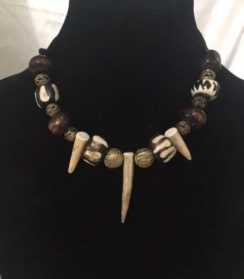 Brass and Deer Antler Necklace
