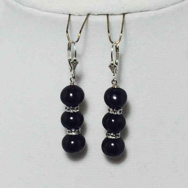 Black Pearl, Crystal and Sterling Silver Earrings