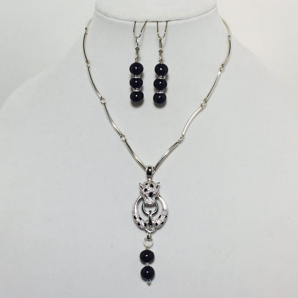 Black Pearls, Crystals and Sterling Silver Necklace and Earrings