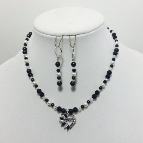 Black Jasper, Pearl, CZ, and Crystal Necklace and Earrings Set