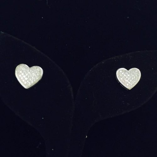Sterling Silver and Swarovski Crystal Pave Heart Earrings