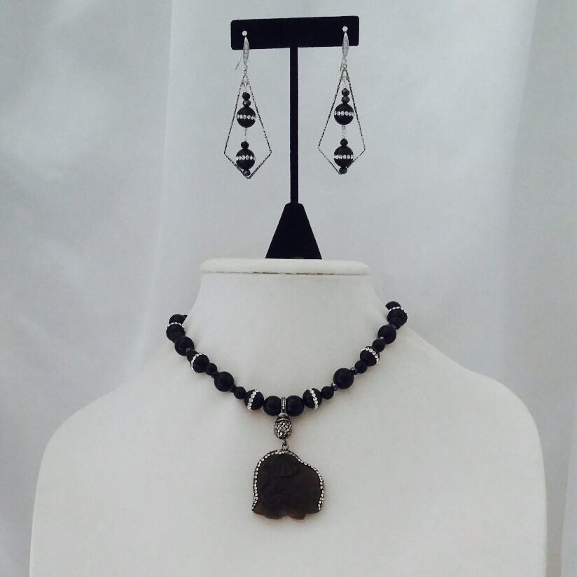 Agate, Onyx, Obsidian, Crystal and Sterling Silver Necklace and Earrings