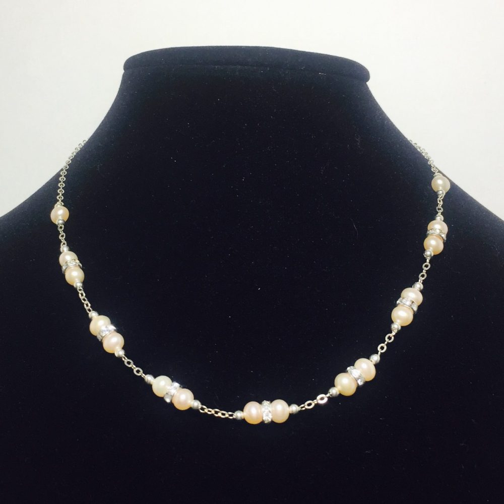 Pearl, Crystal and Sterling Silver Necklace