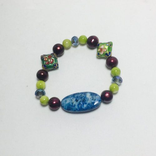Cloisonne, Agate, Pearl, Shell and Crystal Bracelet