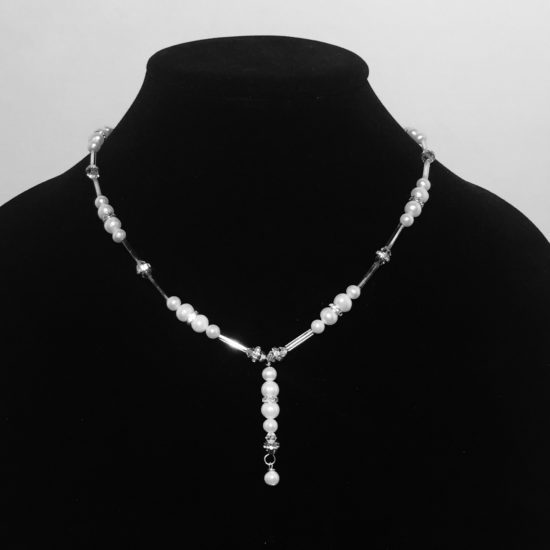 Pearl and Swarovski Crystal Necklace with Drop