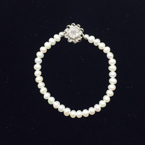 Pearl, Crystal and Sterling Silver Bracelet