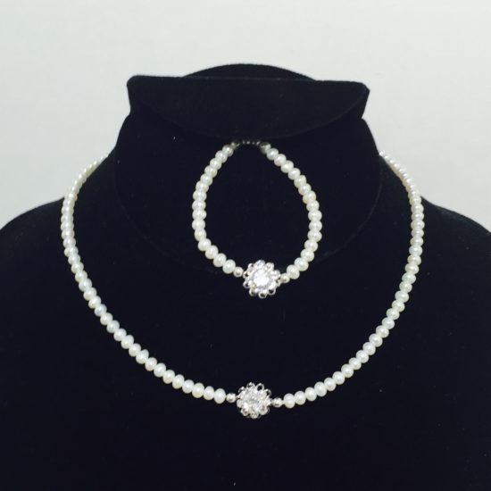 Pearl, Crystal and Sterling Silver Necklace and Bracelet Set